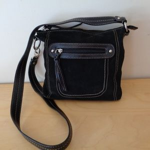 A.N.A. Black Suede Crossbody Handbag